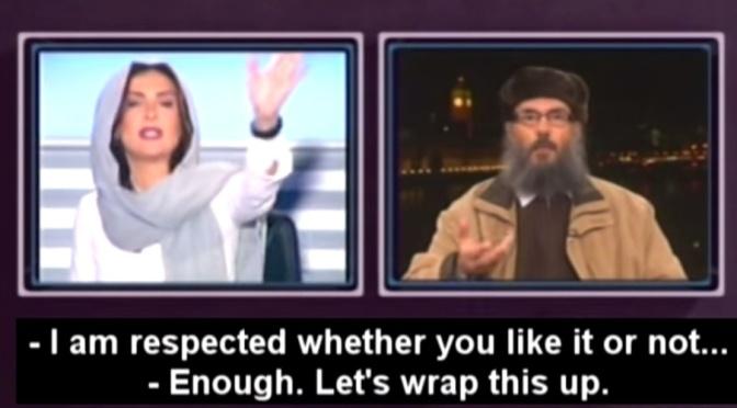 Apresentadora libanesa interrompe entrevista após líder muçulmano egípcio mandá-la se calar