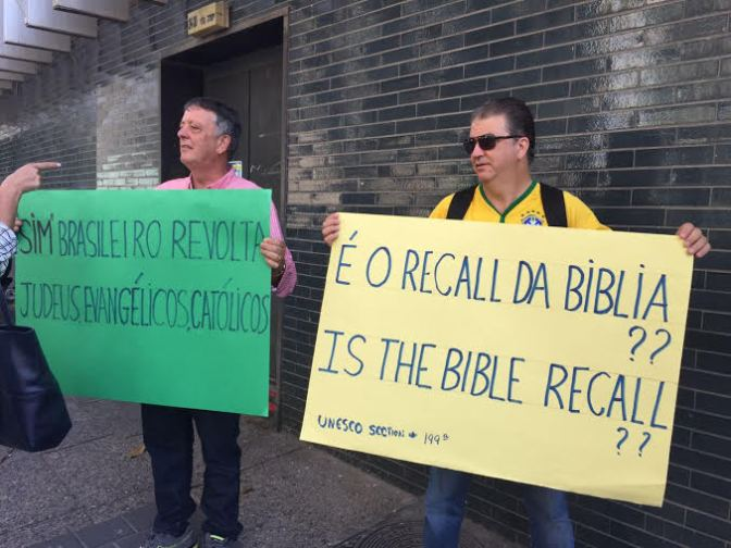 Pastores evangélicos brasileiros fazem protesto em Tel Aviv contra voto do Brasil na Unesco em desfavor de Israel