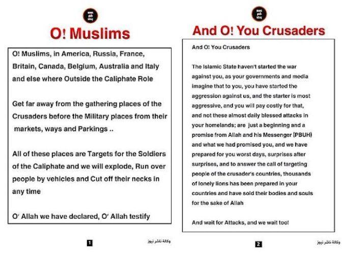 "Estado Islâmico adverte muçulmanos para evitar os ""lugares de encontro dos cruzados"""